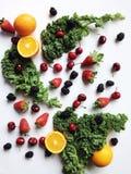 röda apelsiner för äpplecollagefrukt Royaltyfria Foton