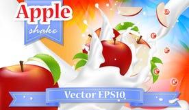 Röda Apple mjölkar det realistiska banret för vektorn Promoaffisch för adverti Arkivfoton