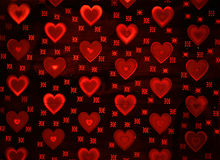 röda bakgrundshjärtor Royaltyfria Bilder