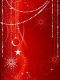 röda bakgrundsjulprydnadar royaltyfri illustrationer