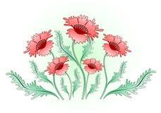 röda bakgrundsvallmor Royaltyfri Fotografi