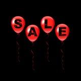 Röda ballonger för vektor med det Sale ordet på svart bakgrund Royaltyfri Foto