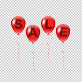 Röda ballonger för vektor med det Sale ordet som isoleras på genomskinlig bakgrund Royaltyfria Foton