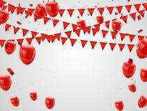 Röda ballonger, konfettibegrepp Berömvektorillustration stock illustrationer