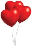röda ballonghjärtor stock illustrationer