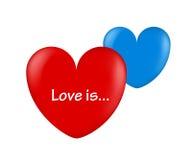 Röda Ballonhjärtor och blå förälskelse är vektor illustrationer