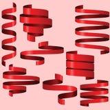 Röda band för din text Arkivfoton