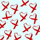 Röda band, för kampen mot HJÄLPMEDEL som förläggas som hjärtor arkivfoton