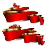 Röda band för vektor med guld- band Arkivbild