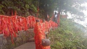 Röda band i den Zhangjiajie nationalparken fotografering för bildbyråer