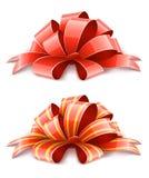 röda band två för garneringgåvor Arkivfoton