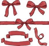 Röda bandbaner royaltyfri illustrationer