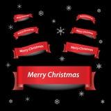 Röda bandbaner för glad jul Arkivbilder