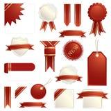 röda bandflikar för guld royaltyfri illustrationer