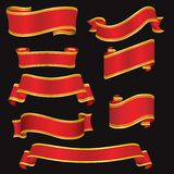 röda baner vektor illustrationer