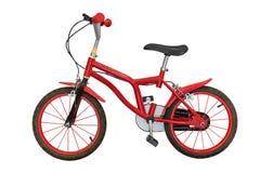 Röda barns cykel som isoleras på vit bakgrund royaltyfria foton