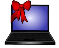 röda befordringar för bowgåvabärbar dator Royaltyfri Fotografi