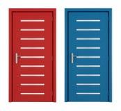 röda blåa dörrar stock illustrationer