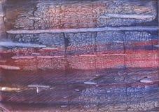 Röda blått befläckt vattenfärgtextur Royaltyfria Bilder