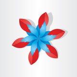 Röda blått för blommagarneringsymbol Arkivfoton
