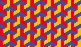 Röda blått för sömlös bauhaus och gul trilateral sexhörnig modellvektor för op konst Royaltyfria Bilder
