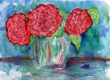 Röda blommor för vattenfärg. Arkivfoto