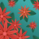 Röda blommor och grön sidatapet Royaltyfri Foto
