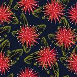 Röda blommor på den sömlösa nattdjungeln stock illustrationer