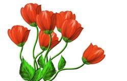 Röda blommor på en vit bakgrund Fotografering för Bildbyråer