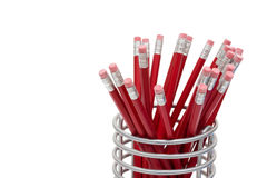 Röda blyertspennor Arkivfoton