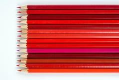 Röda blyertspennor Royaltyfria Foton