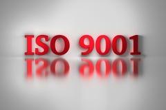 Röda bokstäver av den kvalitets- normaln för ISO 9001 stock illustrationer
