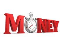 Röda bokstäver för tidpengarbegrepp med stopwatchen Royaltyfri Fotografi