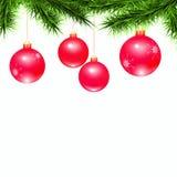 Röda bollar och grön filial på en vit bakgrund stock illustrationer