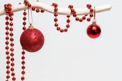 Röda bollar och pärlor på den vita filialen Royaltyfria Bilder
