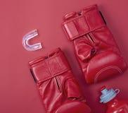 Röda boxas sporthandskar fotografering för bildbyråer