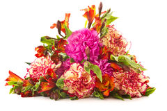 röda bukettnejlikachrysanthemums Arkivfoto