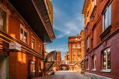 Röda byggnader av den röda Oktober konfektfabriken Royaltyfria Foton
