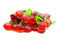Röda Cherry Gummies royaltyfria foton