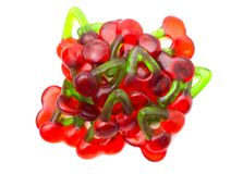 Röda Cherry Gummies royaltyfria bilder