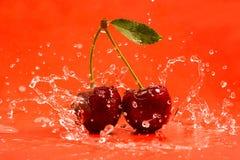 Röda Cherry Splash Fotografering för Bildbyråer