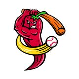 Röda Chili Pepper Baseball Mascot Arkivbild