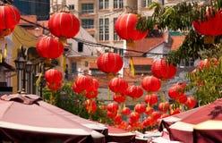 röda chinatown lyktor Royaltyfri Foto