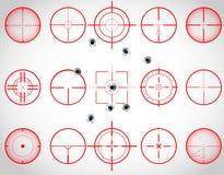 Röda crosshairs royaltyfri illustrationer