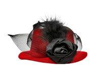 Röda dams för tappning hatt med svarta fjädrar Arkivbilder