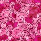 Röda dekorativa spiral watercolored bakgrundsmodell fotografering för bildbyråer