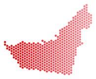 Röda Dot Arab Emirates Map vektor illustrationer