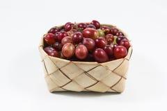 Röda druvor i ris Kratib på vit bakgrund, röda druvor stänger u Arkivfoto