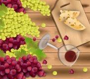 Röda druvor på wood bakgrund Wineexponeringsglas och ost Realistisk illustration för säsongskördvektor Royaltyfri Bild
