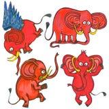 Röda elefanter för tecknad film Arkivfoton